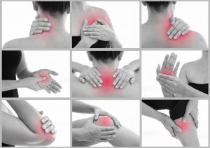 Image collage illustrating muscle pain and inflammation